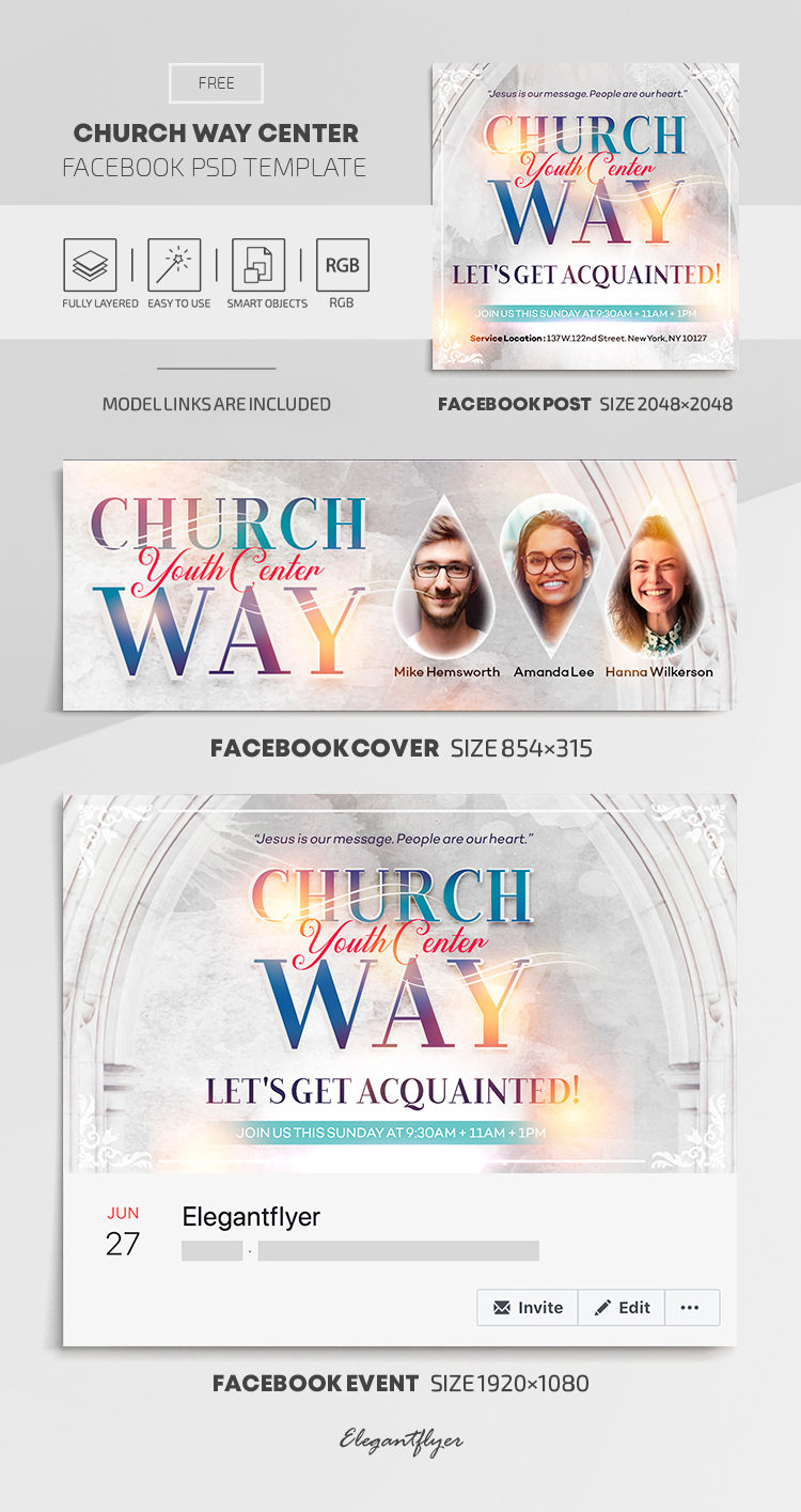 Church Way Center – Free Facebook Cover Template in PSD + Post + Event cover
