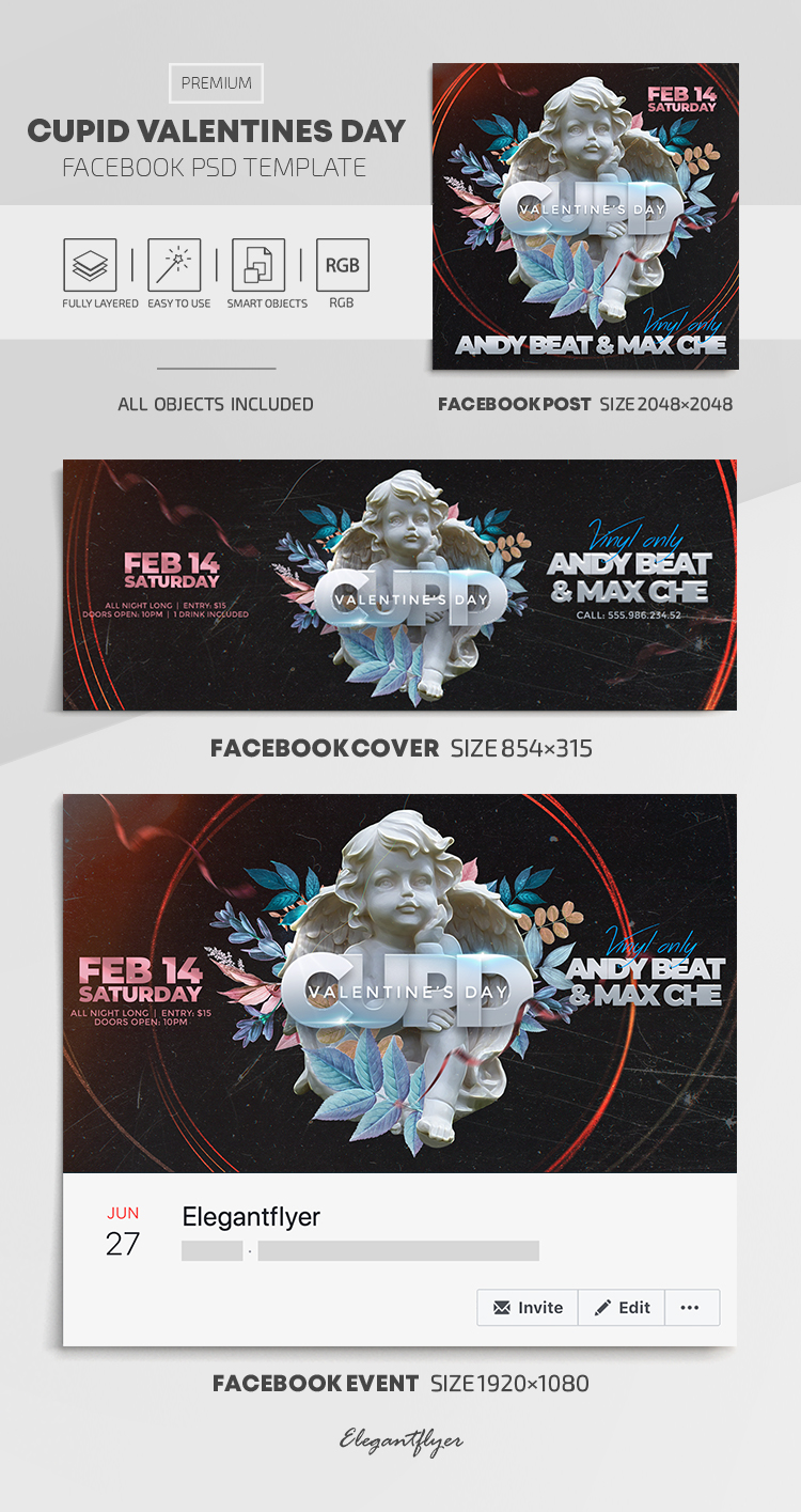 Cupid Valentines Day – Facebook Cover Template in PSD + Post + Event cover