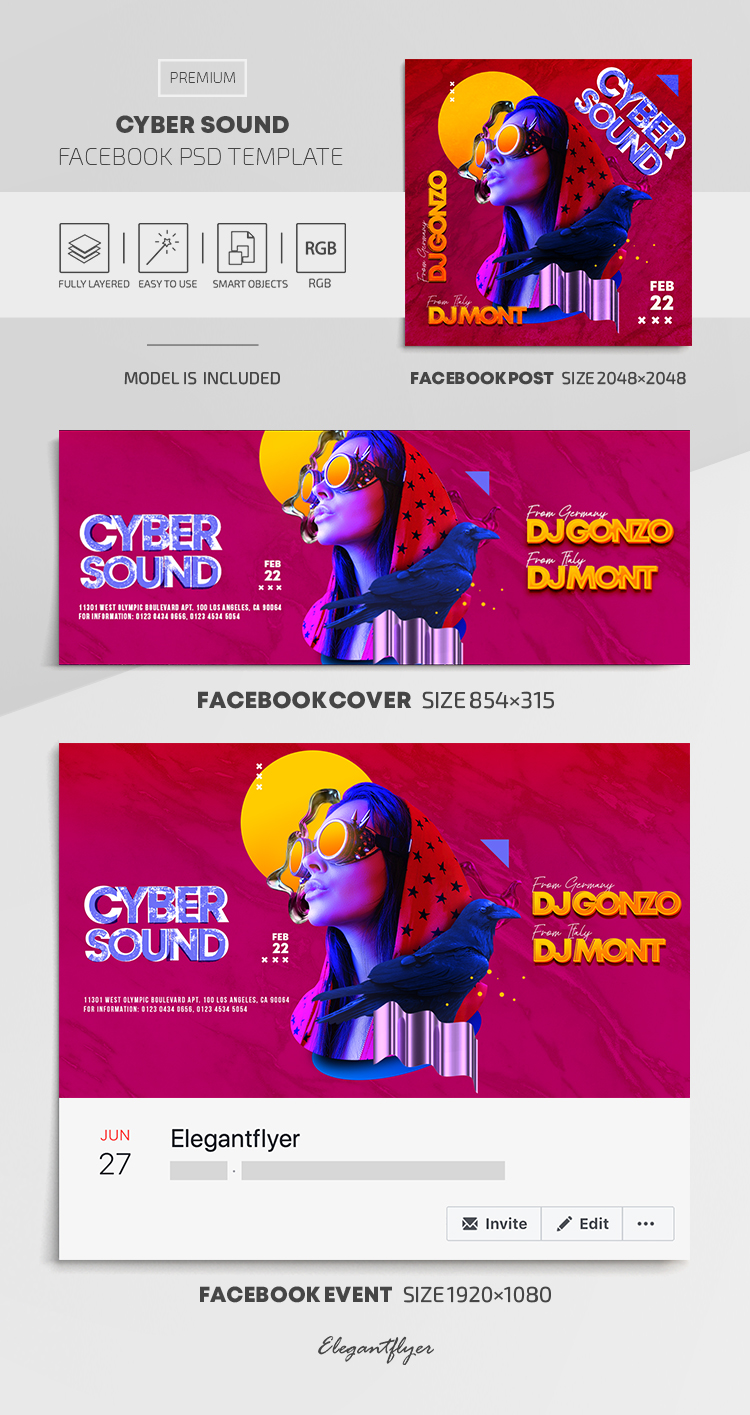 Cyber Sound – Facebook Cover Template in PSD + Post + Event cover