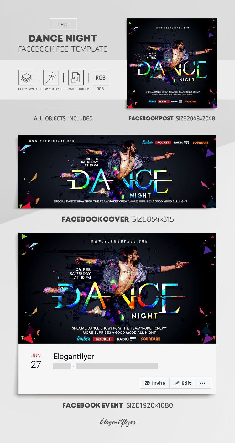 Dance Night – Free Facebook Cover Template in PSD + Post + Event cover