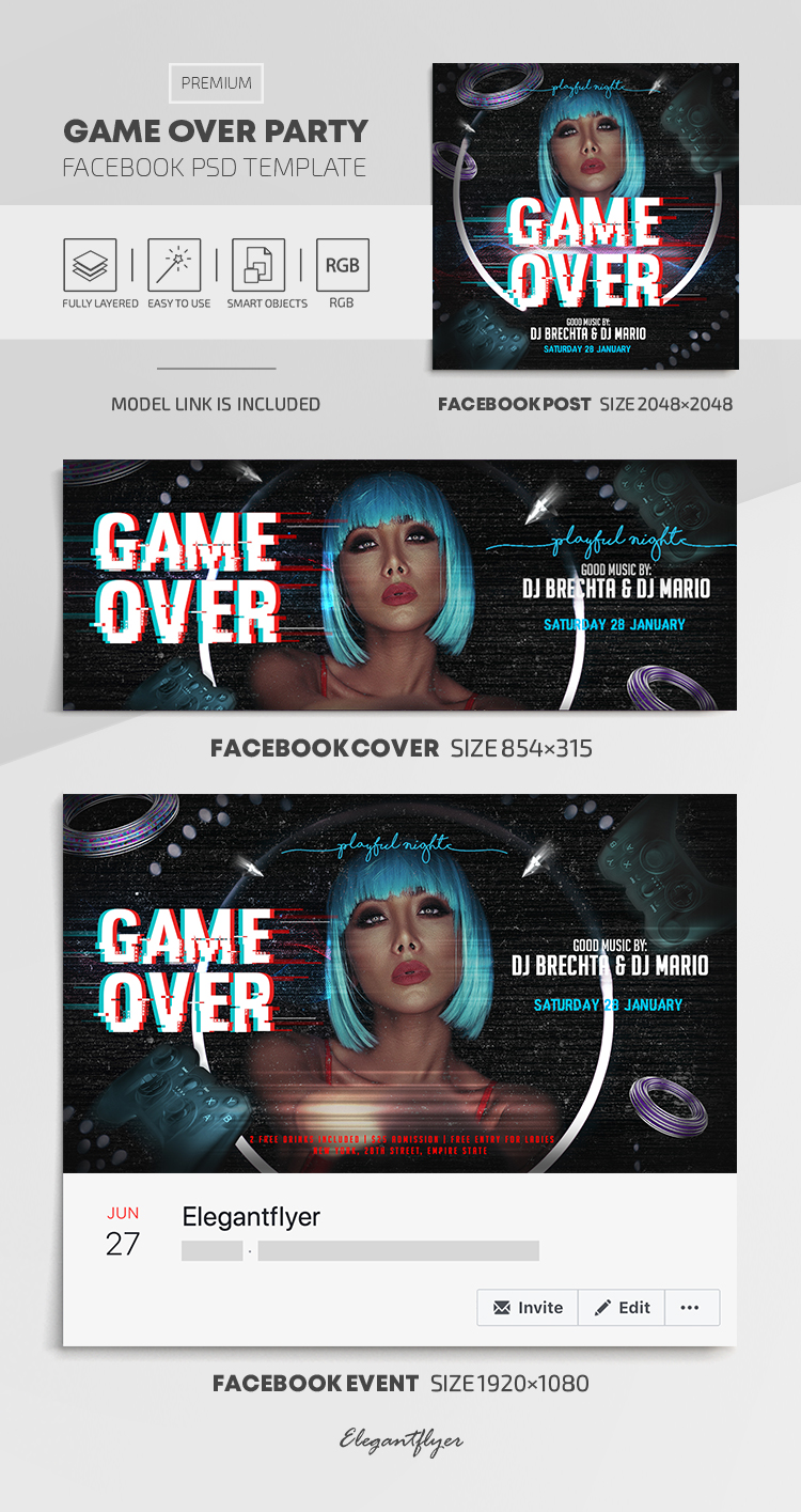 Game Over Party – Facebook Cover Template in PSD + Post + Event cover