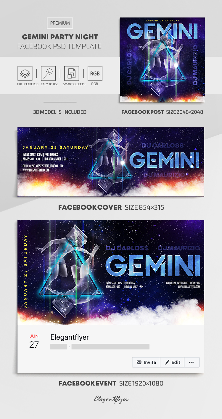 Gemini Boombox – Facebook Cover Template in PSD + Post + Event cover