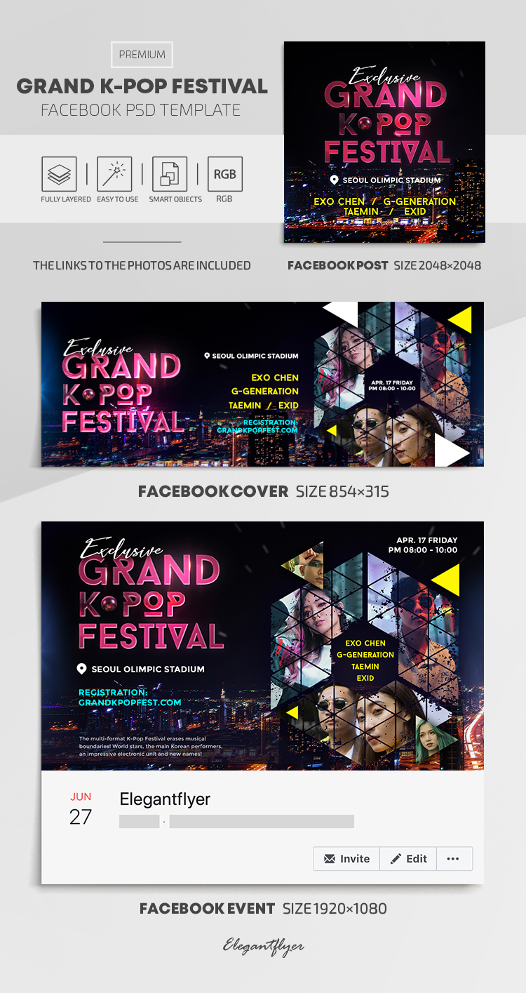 Grand K-Pop Festival – Facebook Cover Template in PSD + Post + Event cover