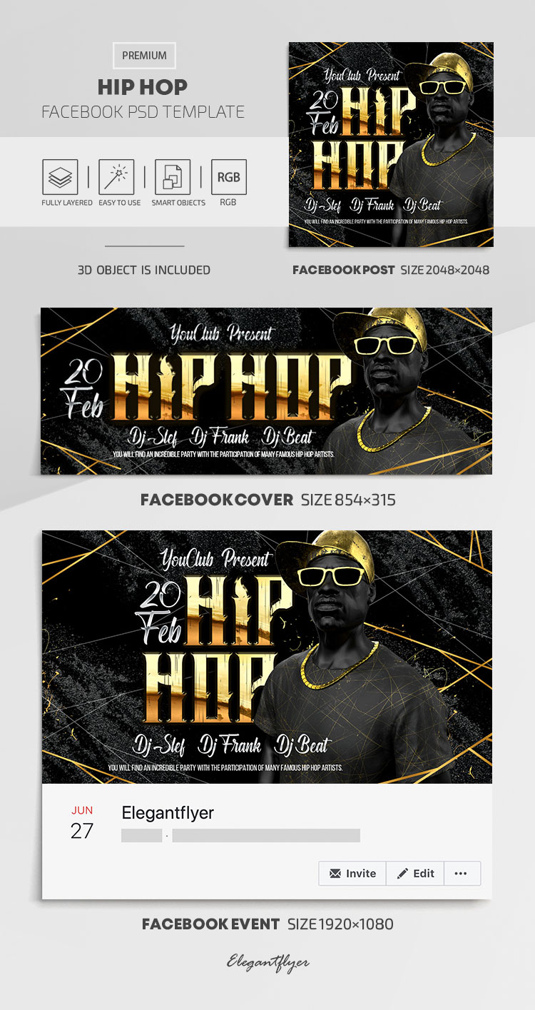 Hip Hop – Facebook Cover Template in PSD + Post + Event cover