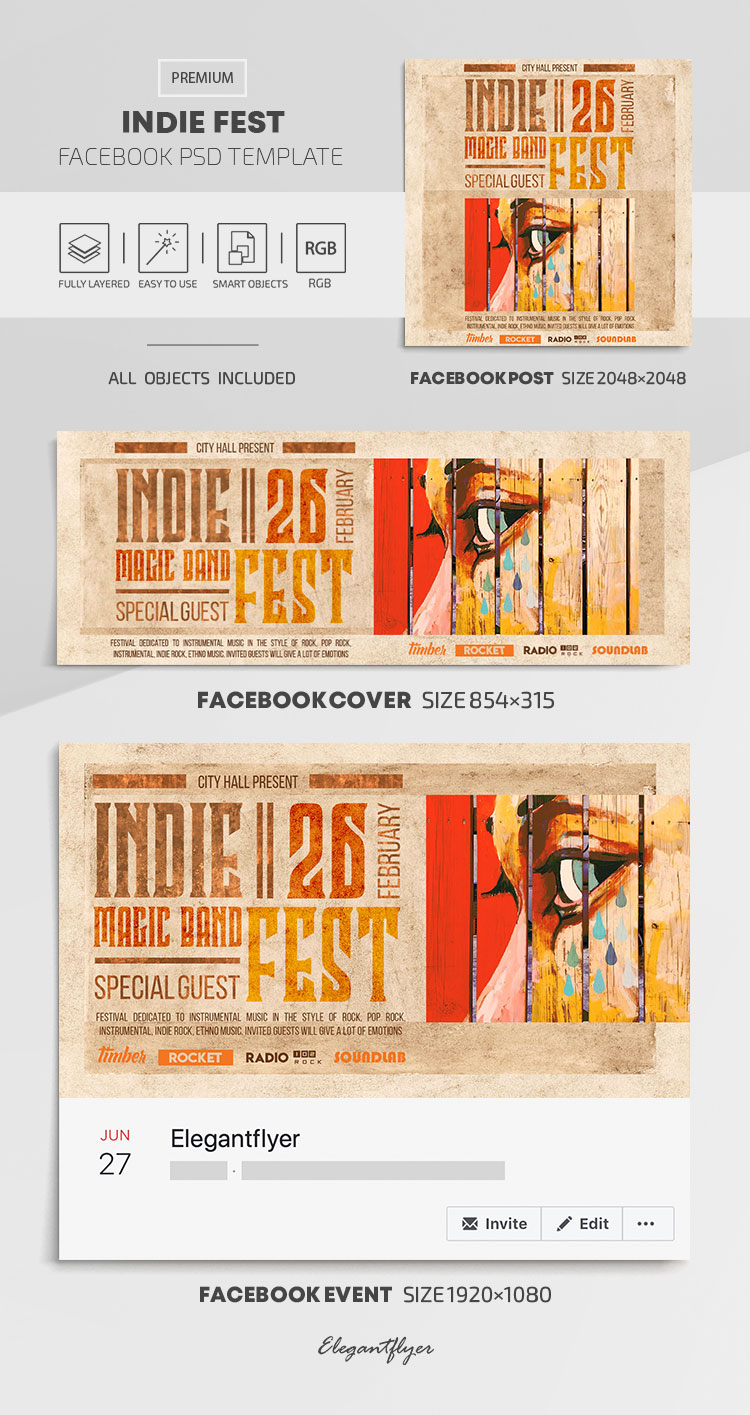 Indie Fest – Facebook Cover Template in PSD + Post + Event cover