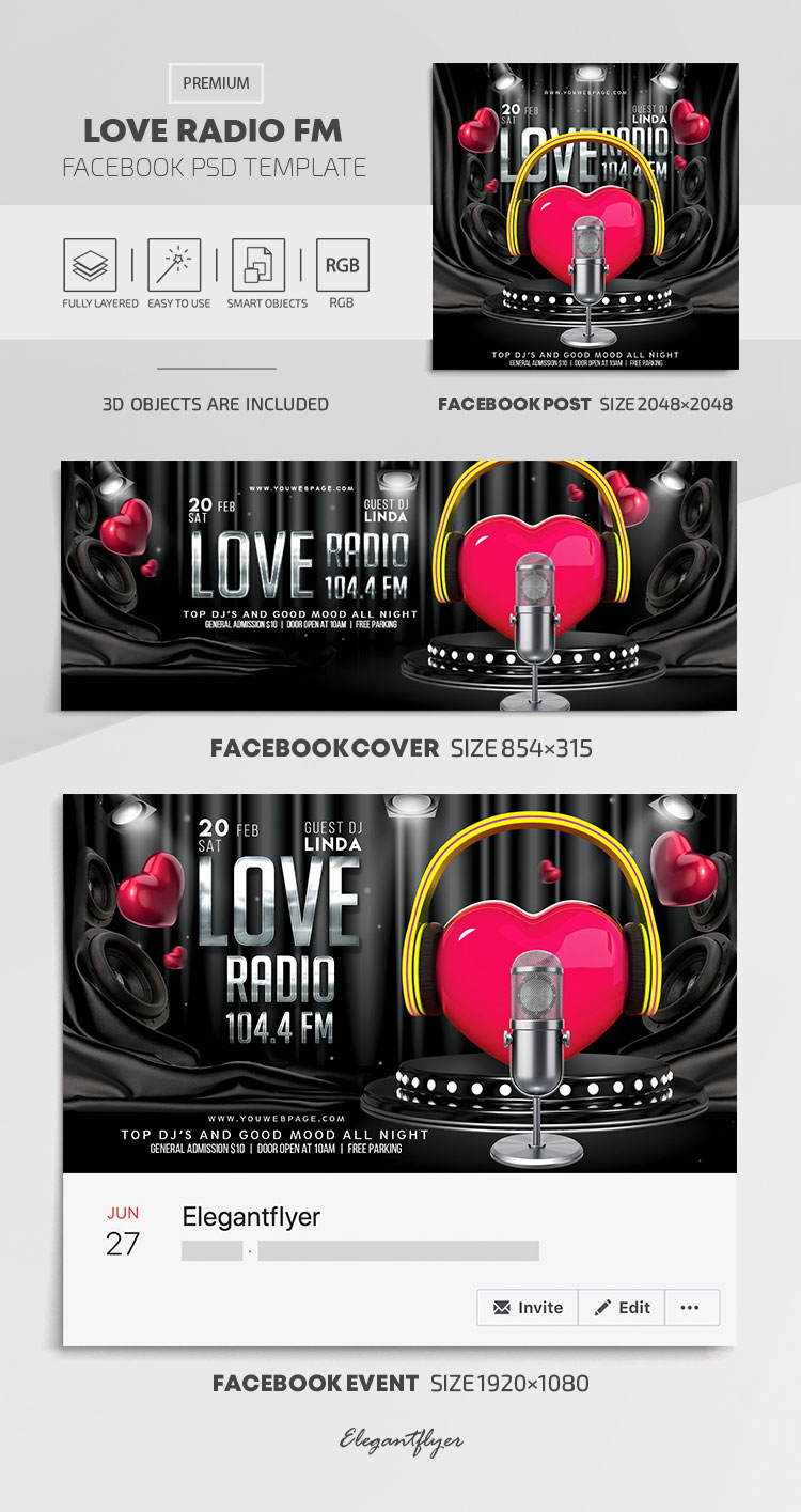 Love Radio FM – Facebook Cover Template in PSD + Post + Event cover