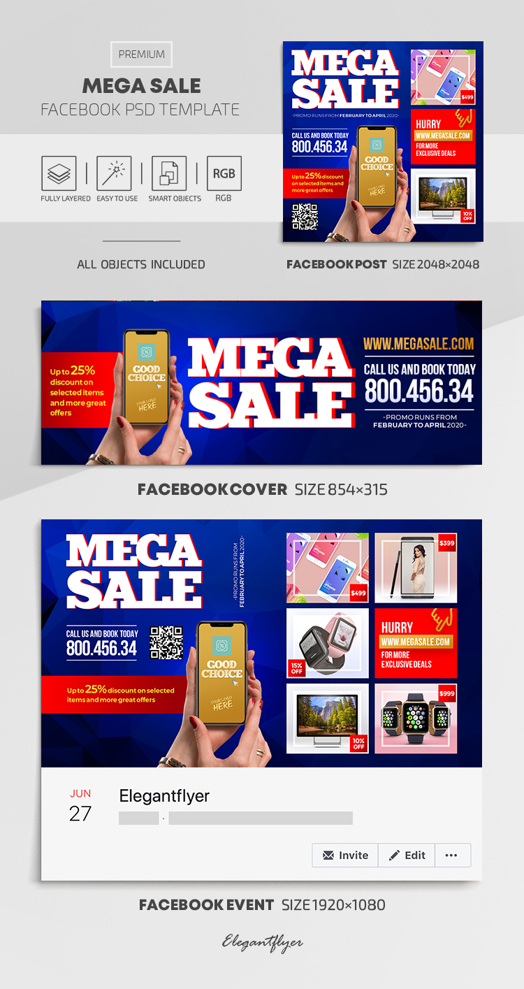 Mega Sale – Facebook Cover Template in PSD + Post + Event cover