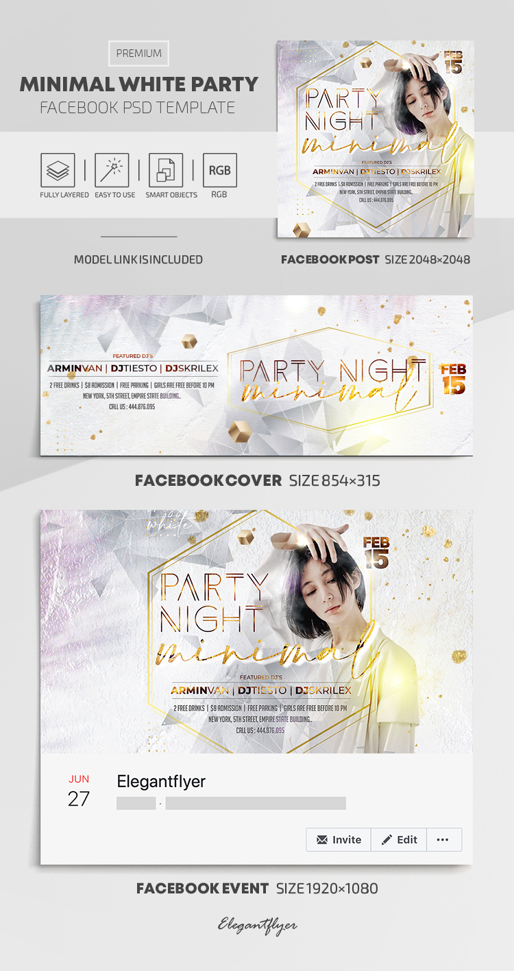 Minimal White Party – Facebook Cover Template in PSD + Post + Event cover