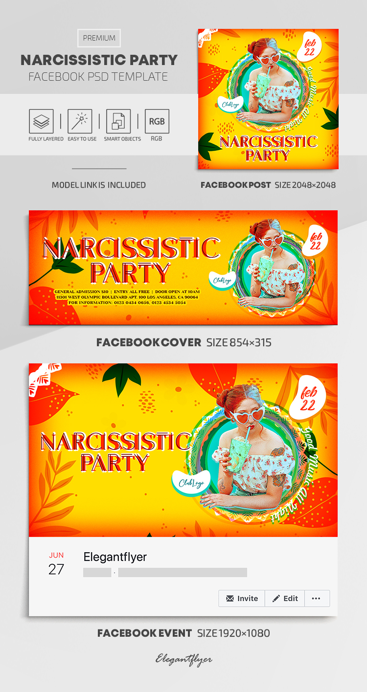 Narcissistic Party – Facebook Cover Template in PSD + Post + Event cover
