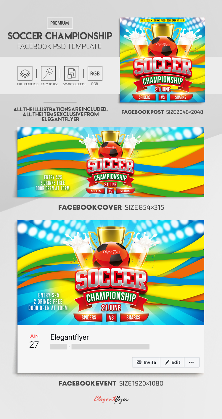 Soccer Championship – Facebook Cover Template in PSD + Post + Event cover
