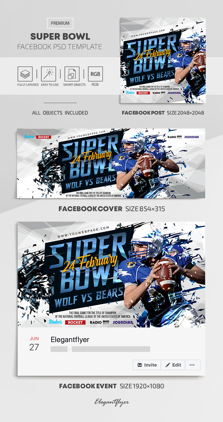 Super Bowl – Facebook Cover Template in PSD + Post + Event cover