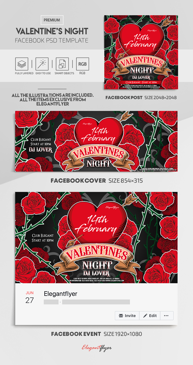 Valentine's Night – Facebook Cover Template in PSD + Post + Event cover