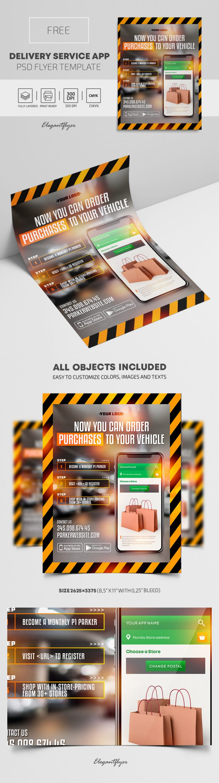 Delivery Service App – Free PSD Flyer Template
