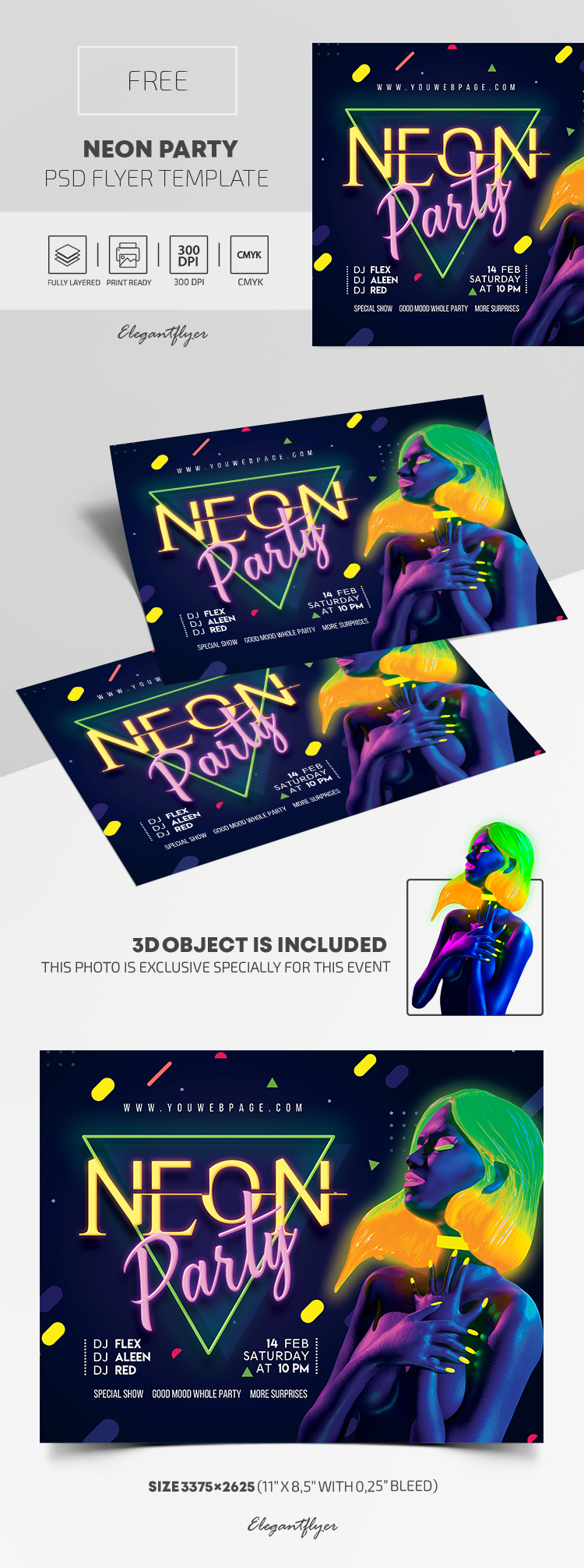Neon Party – Free PSD Flyer Template