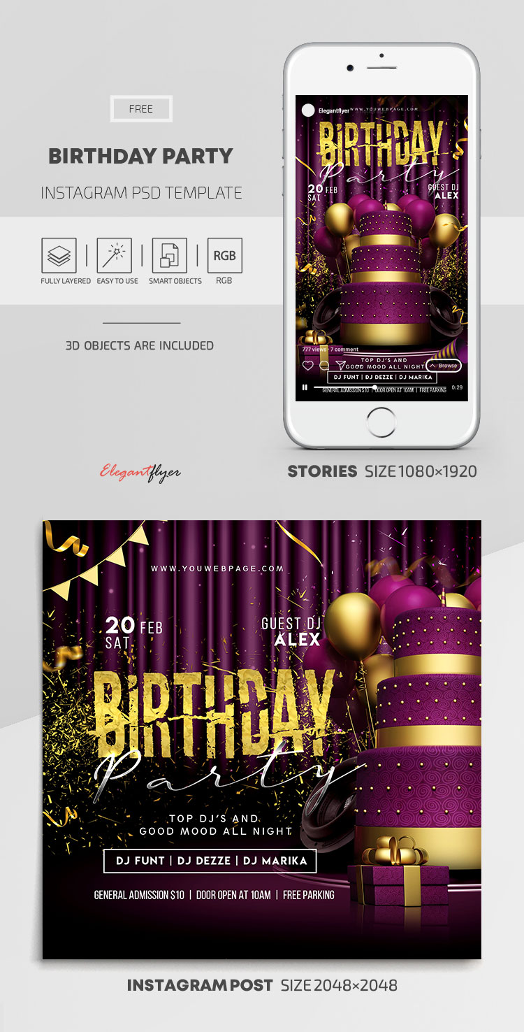 Birthday Party – Free Instagram Stories Template in PSD + Post Templates