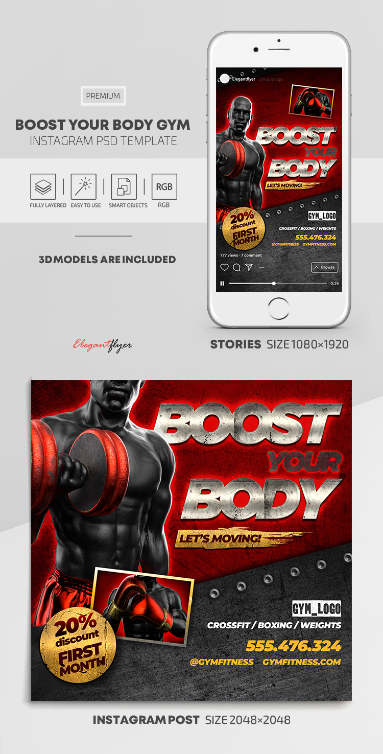 Boost Your Body GYM – Instagram Stories Template in PSD + Post Templates