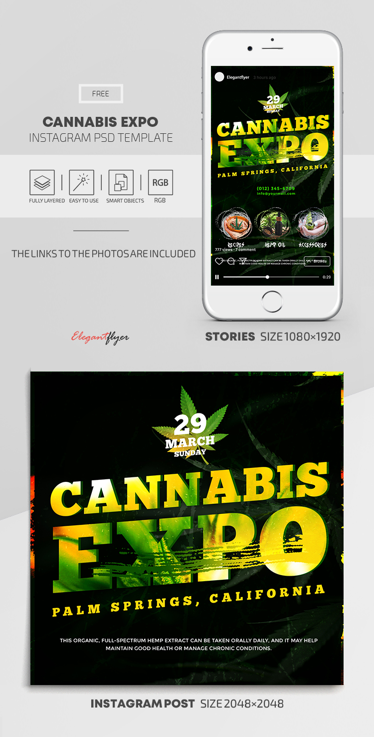 Cannabis Expo – Free Instagram Stories Template in PSD + Post Templates