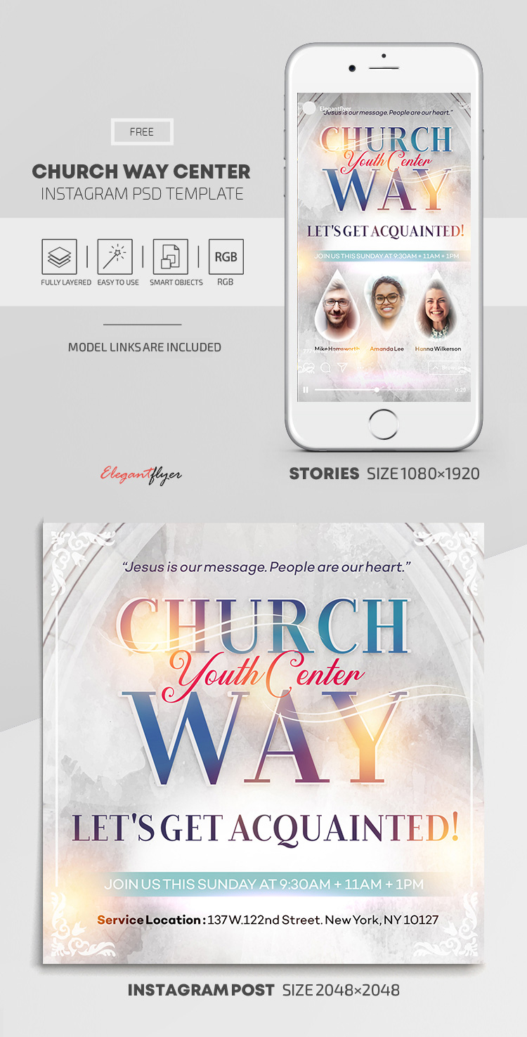 Church Way Center – Free Instagram Stories Template in PSD + Post Templates