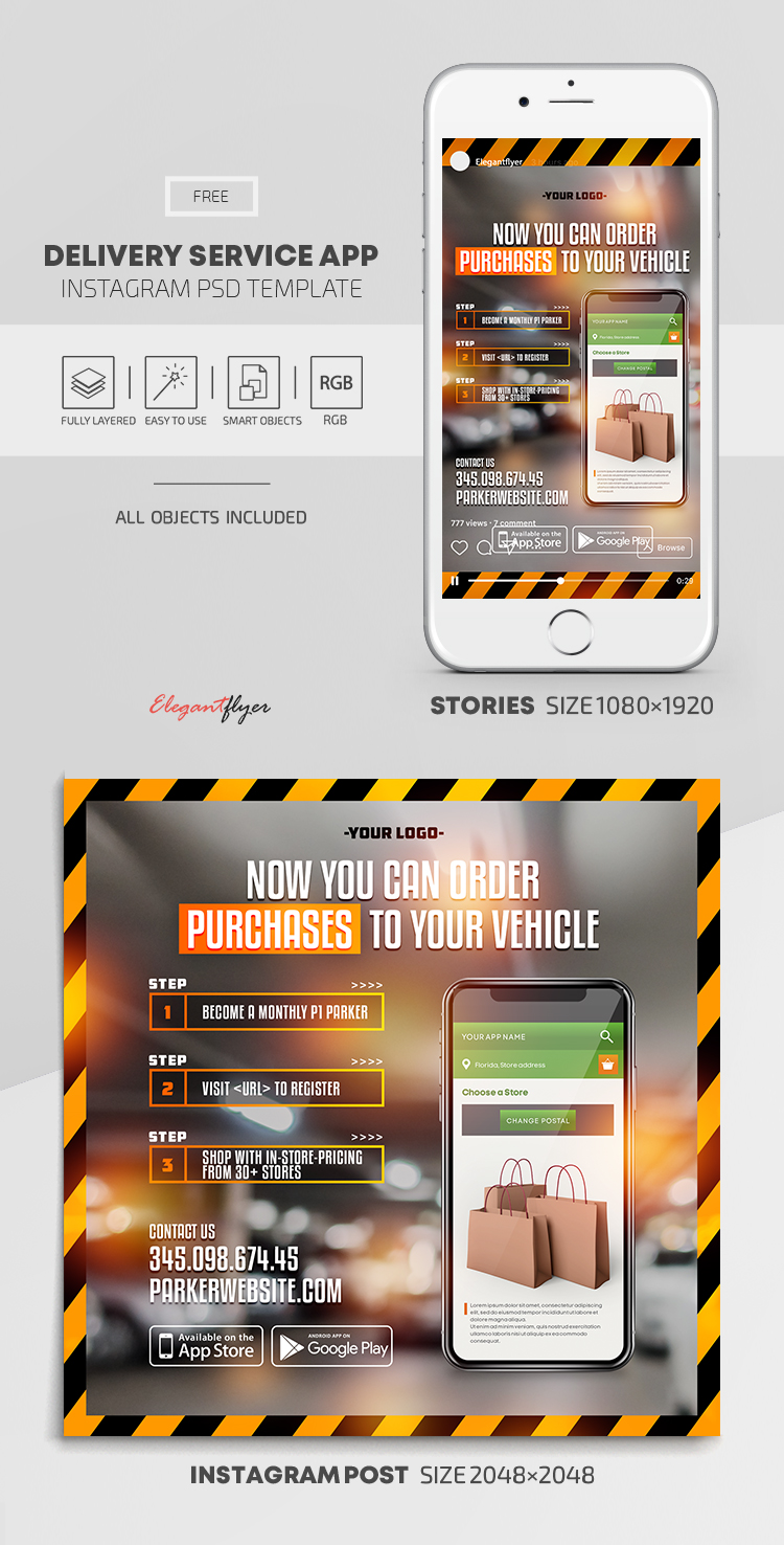 Delivery Service App – Free Instagram Stories Template in PSD + Post Templates