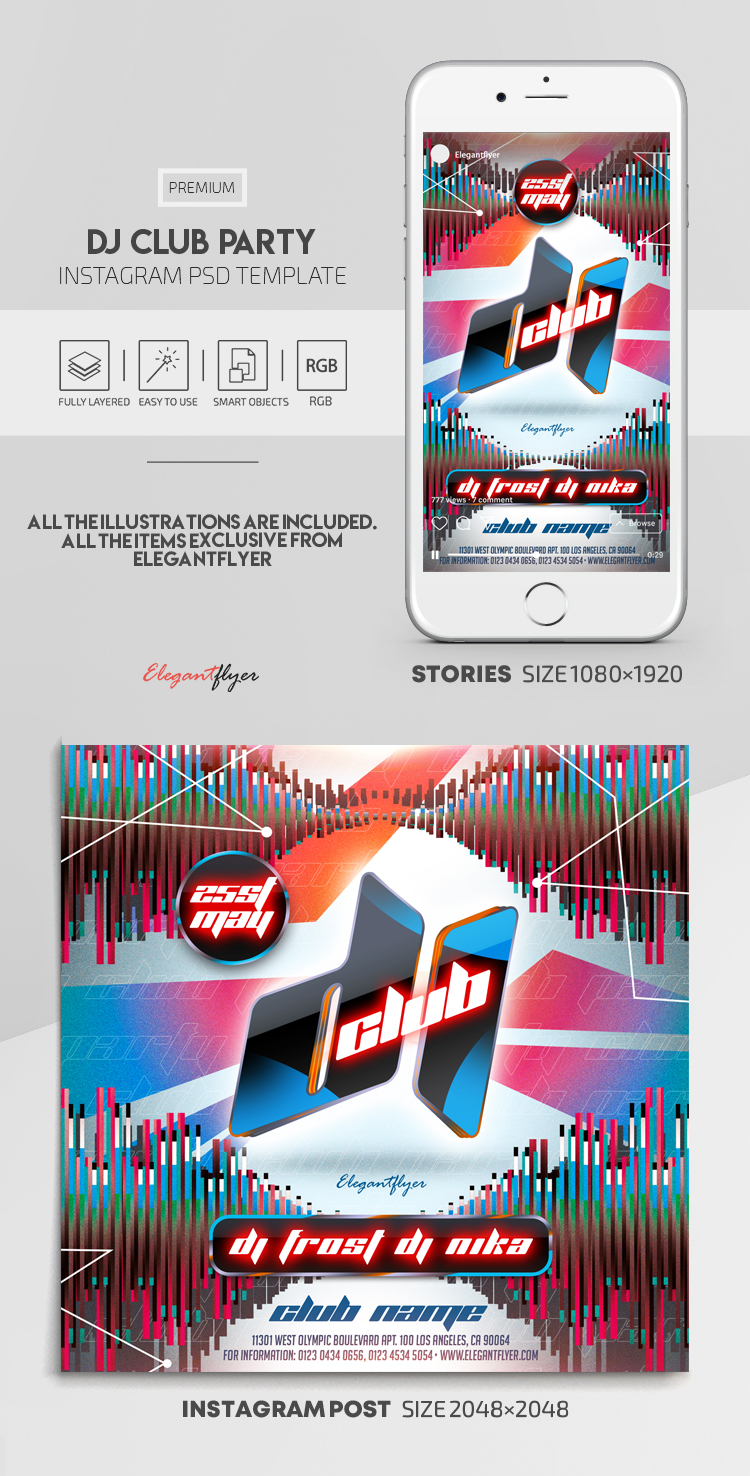 Dj Club Party – Instagram Stories Template in PSD + Post Templates