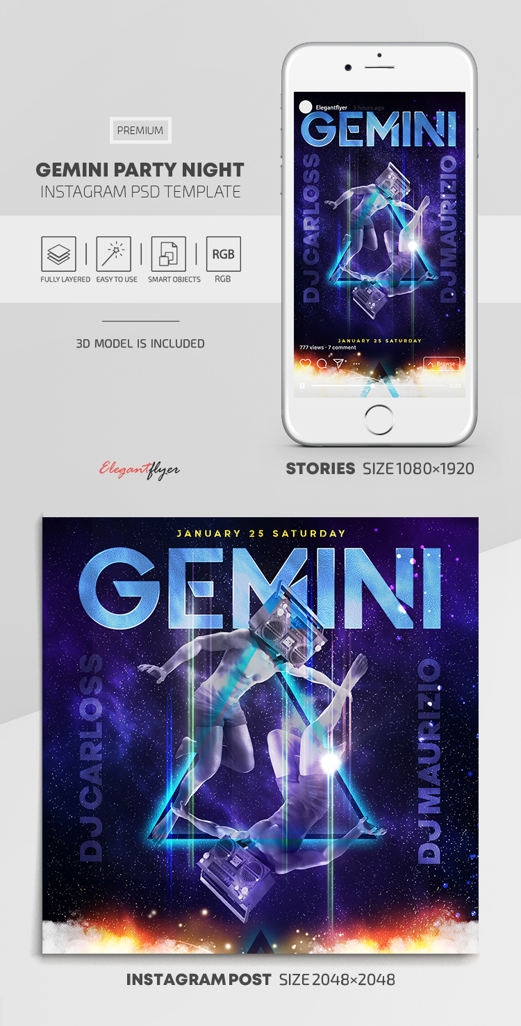 Gemini Boombox – Instagram Stories Template in PSD + Post Templates