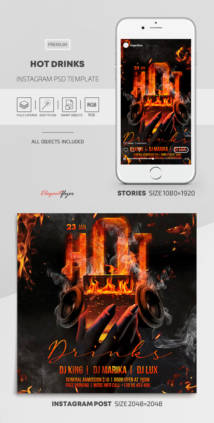 Hot Drinks – Instagram Stories Template in PSD + Post Templates