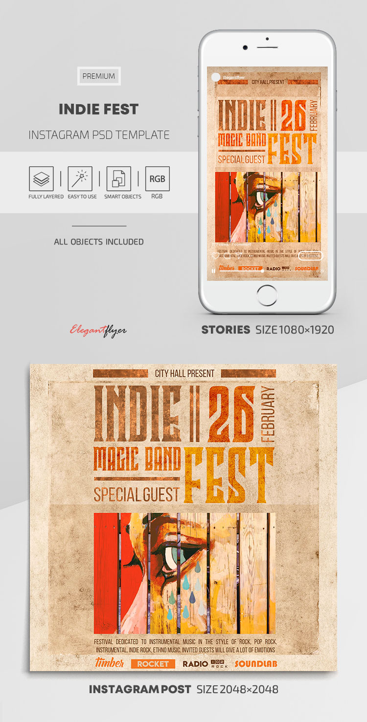 Indie Fest – Instagram Stories Template in PSD + Post Templates