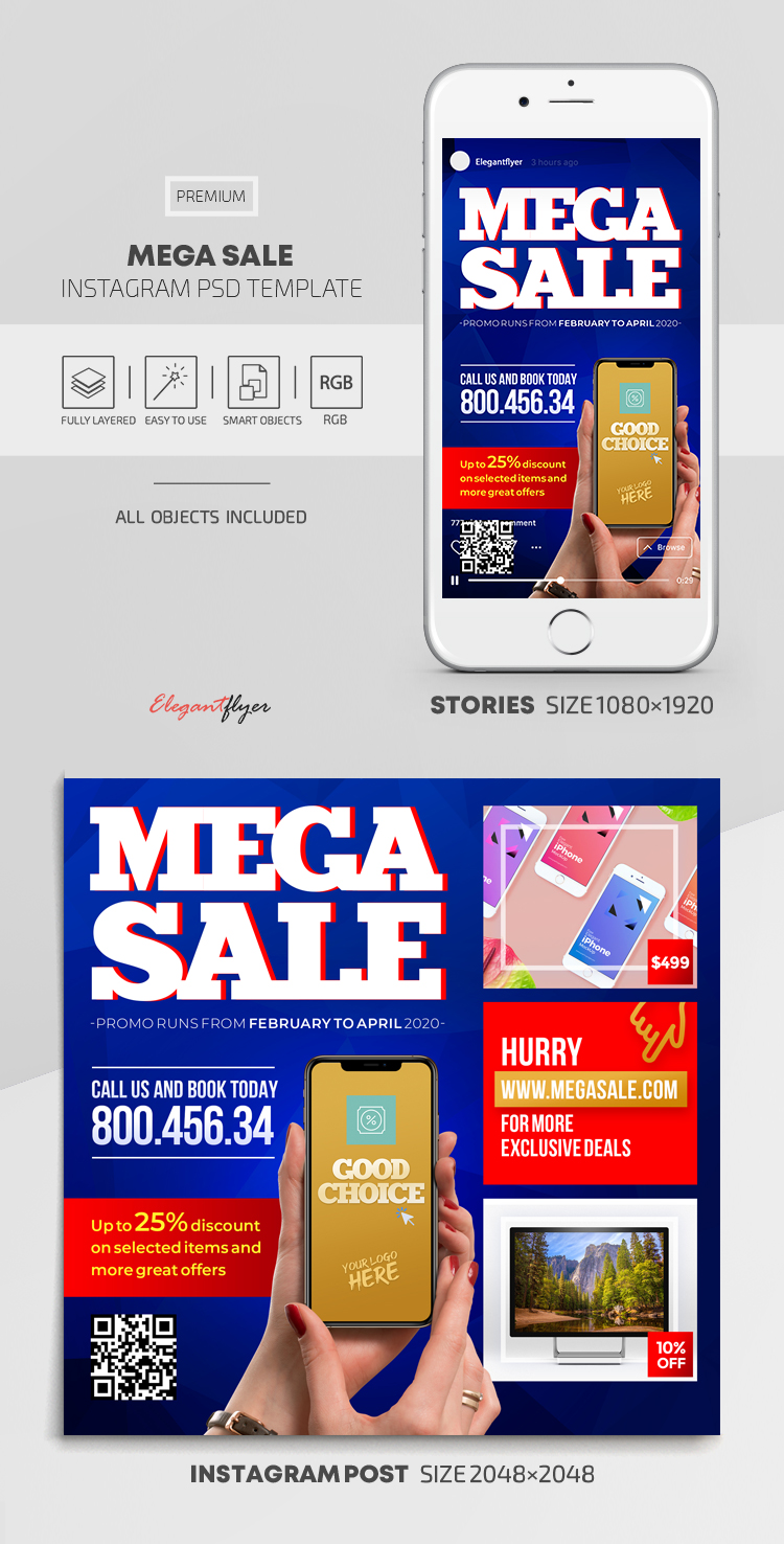 Mega Sale – Instagram Stories Template in PSD + Post Templates