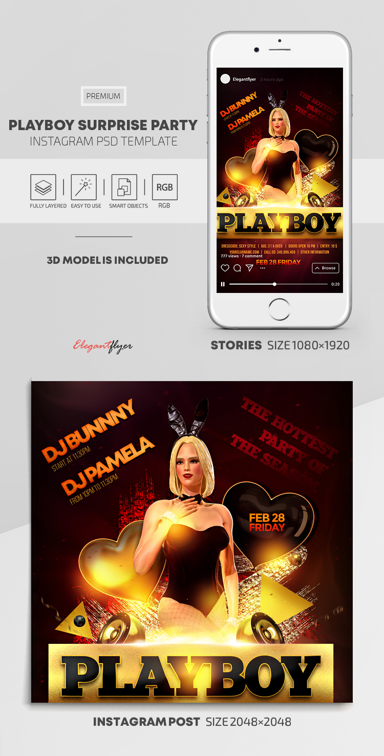 Playboy Surprise Party – Instagram Stories Template in PSD + Post Templates