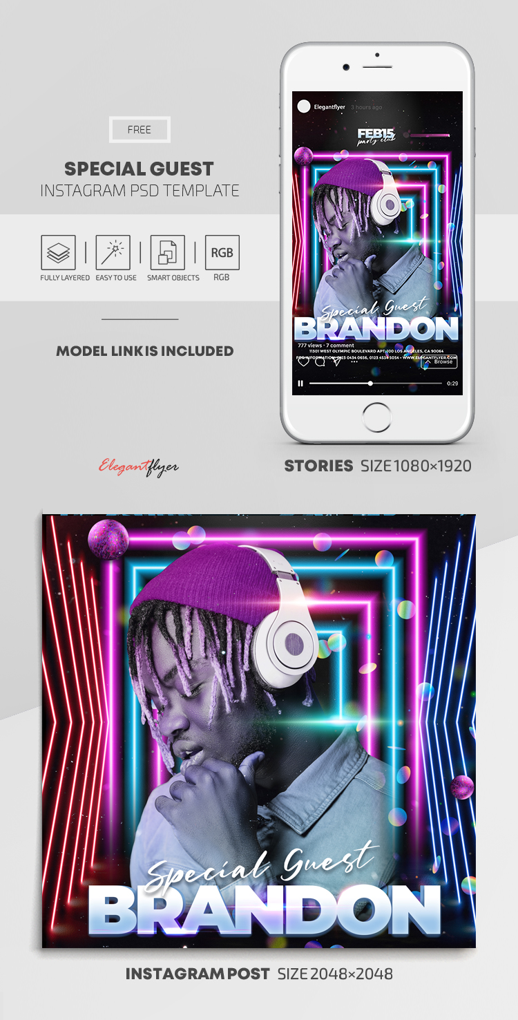 Special Guest DJ – Free Instagram Stories Template in PSD + Post Templates