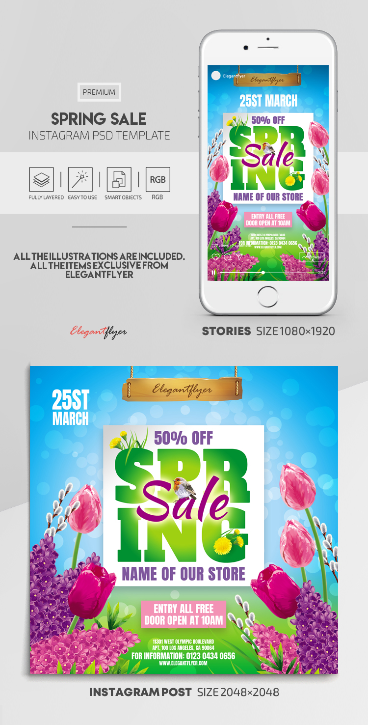 Spring Sale – Instagram Stories Template in PSD + Post Templates