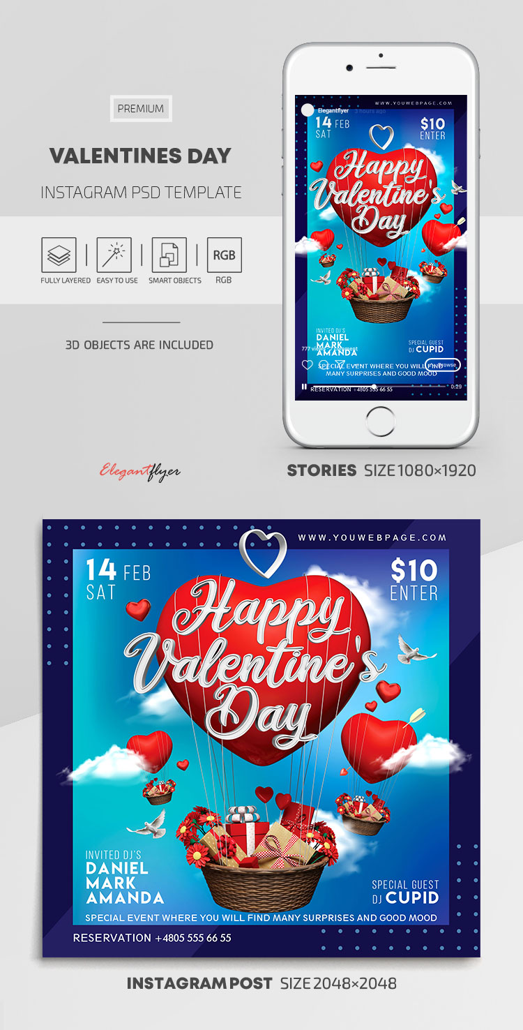 Valentines Day – Instagram Stories Template in PSD + Post Templates