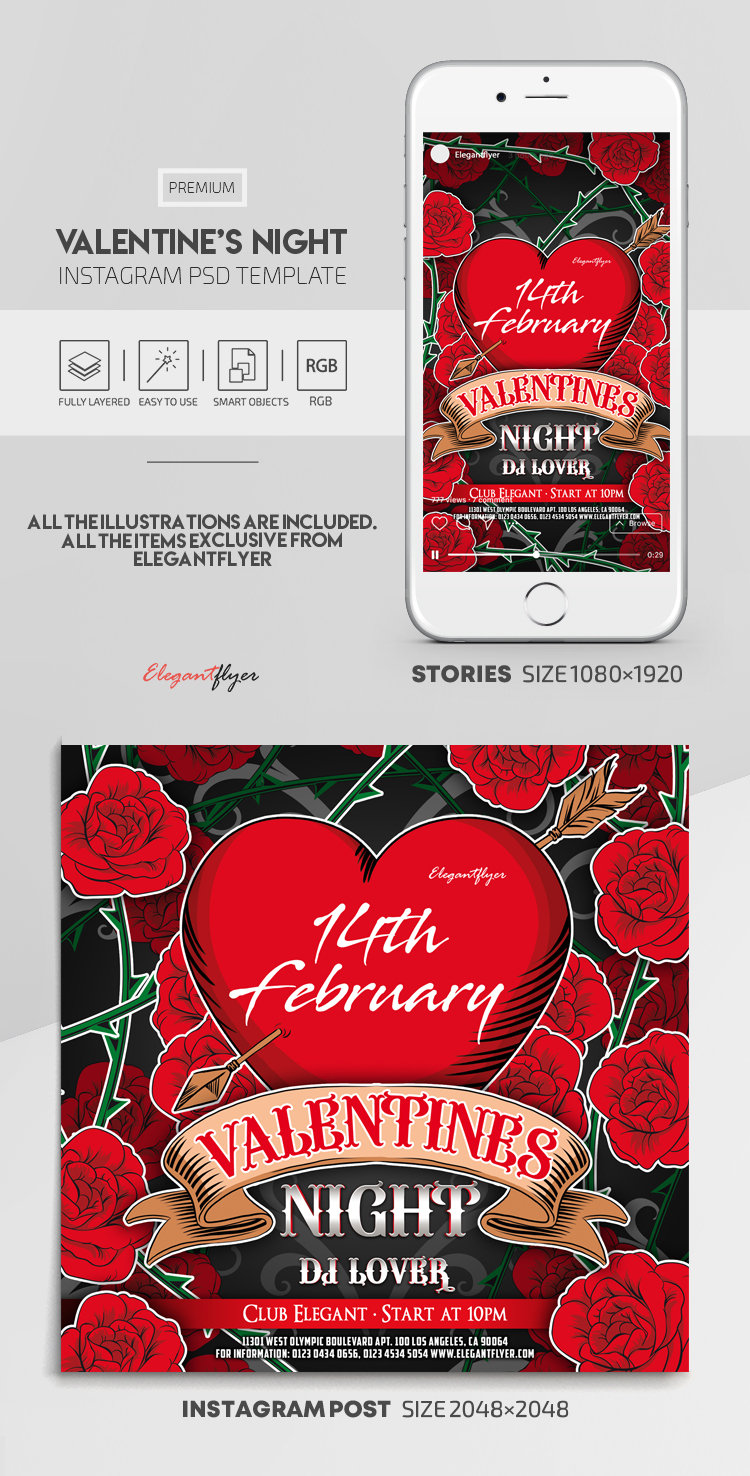 Valentine's Night – Instagram Stories Template in PSD + Post Templates