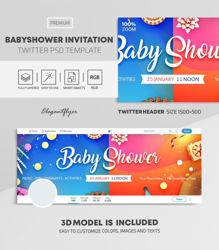 Baby Shower – Twitter Header PSD Template