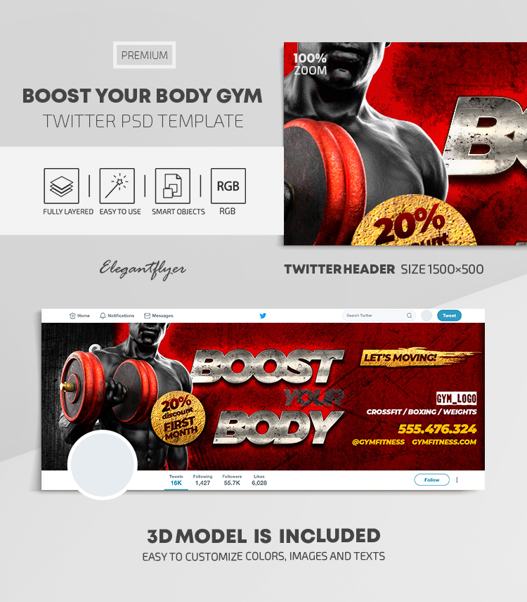 Boost Your Body GYM – Twitter Header PSD Template