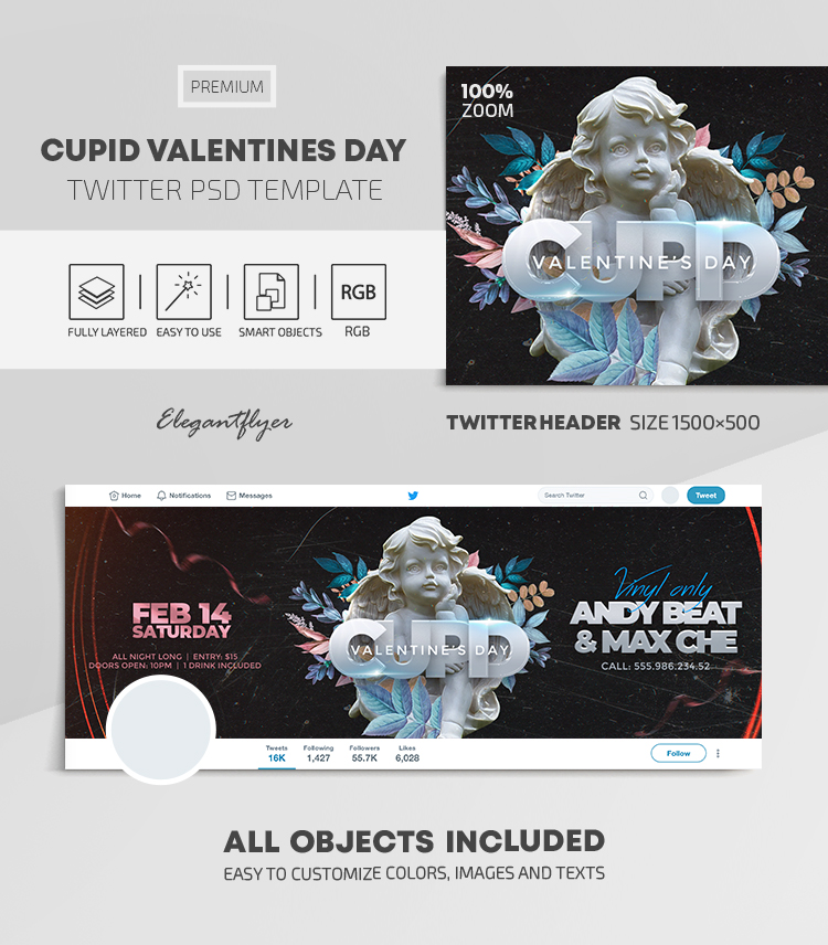 Cupid Valentines Day – Twitter Header PSD Template