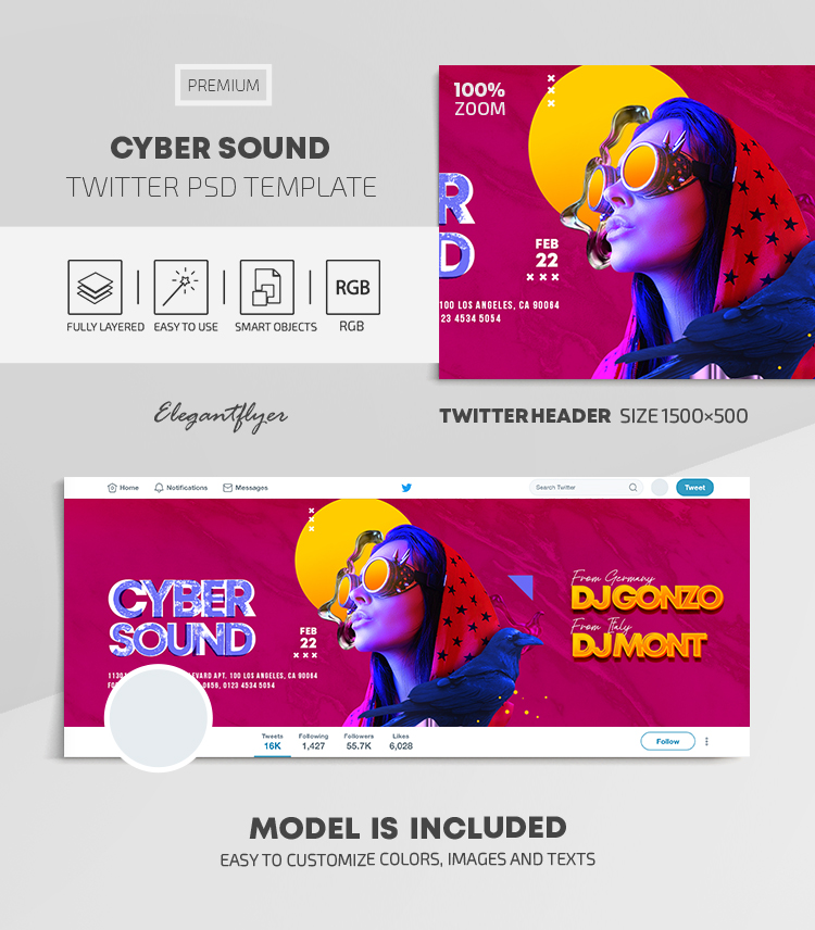 Cyber Sound – Twitter Header PSD Template