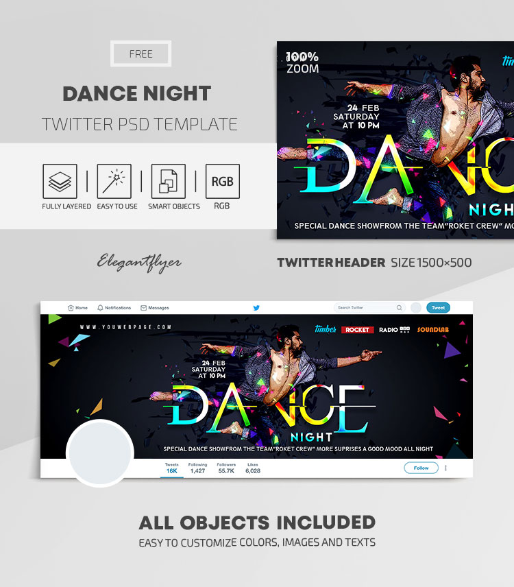 Dance Night – Free Twitter Header PSD Template