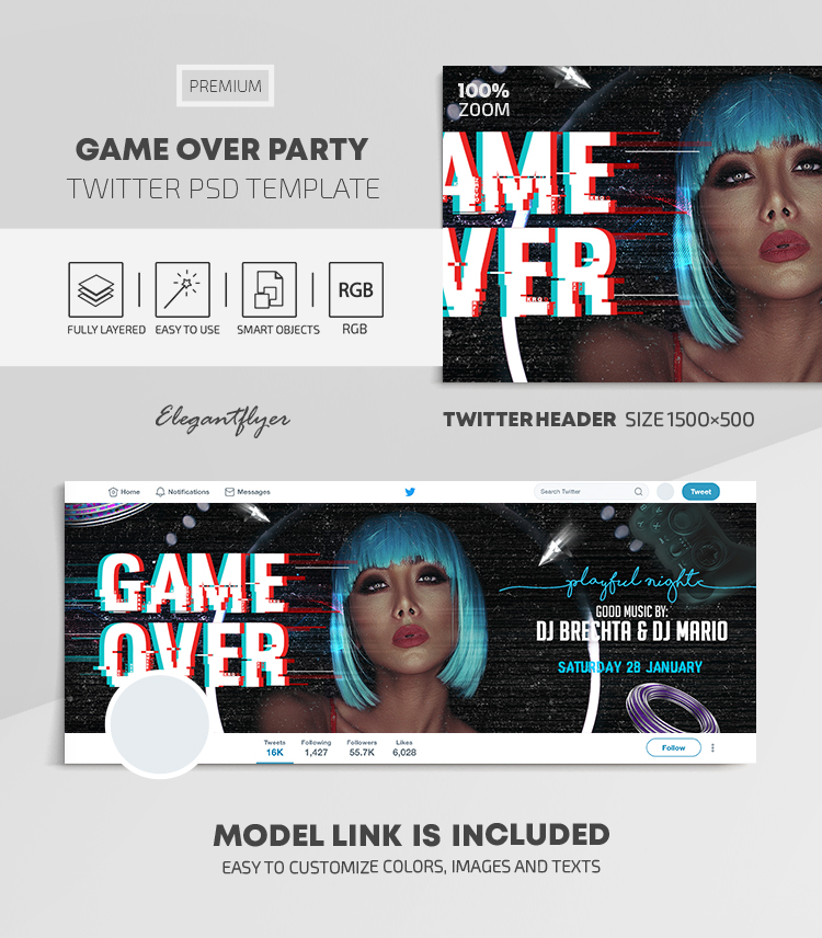 Game Over Party – Twitter Header PSD Template
