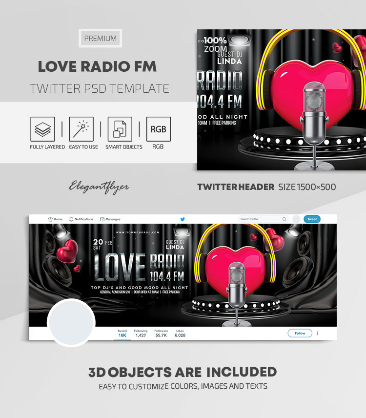 Love Radio FM – Twitter Header PSD Template