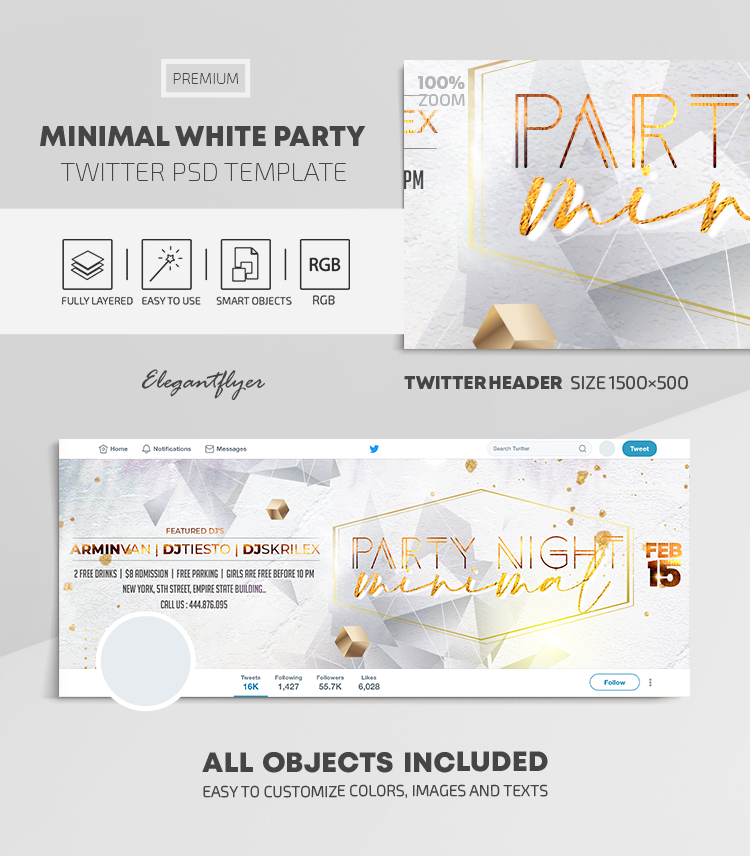 Minimal White Party – Twitter Header PSD Template