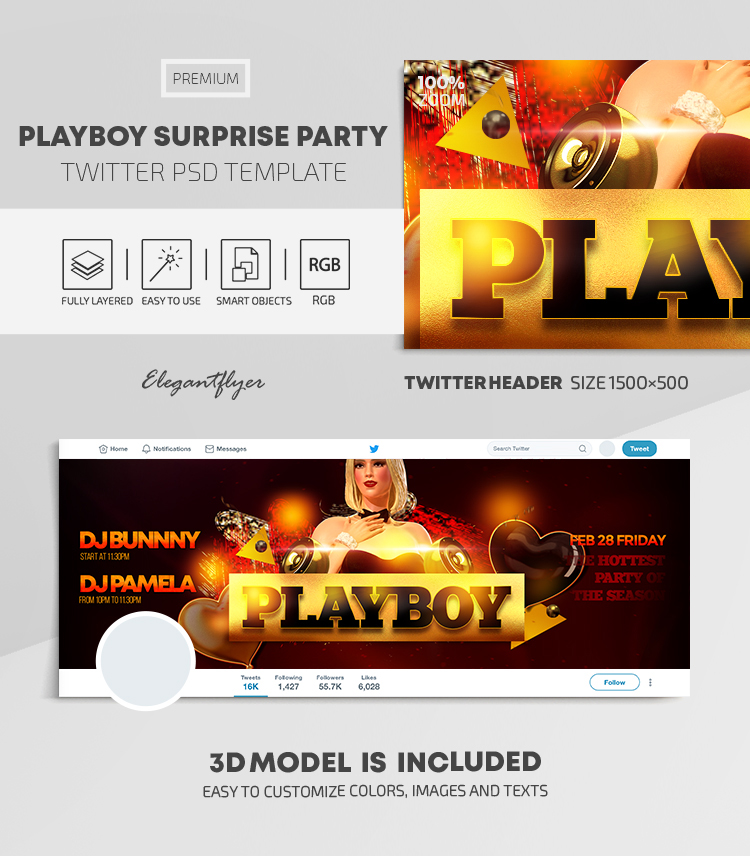 Playboy Surprise Party – Twitter Header PSD Template