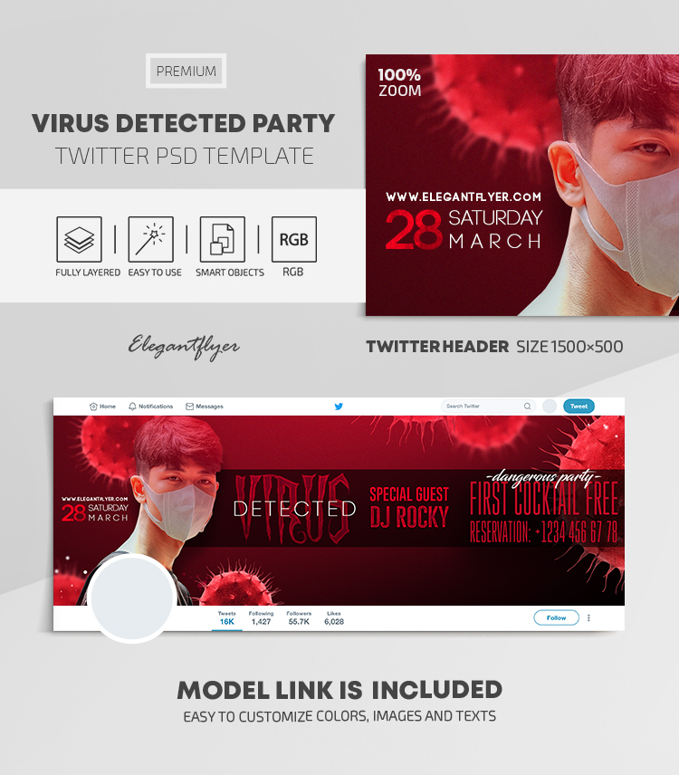 Virus Detected Party – Twitter Header PSD Template