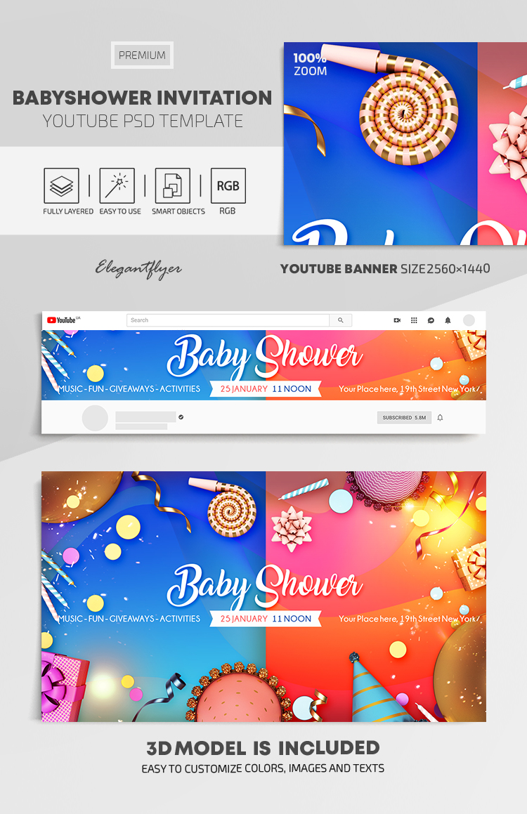 Baby Shower – Youtube Channel banner PSD Template