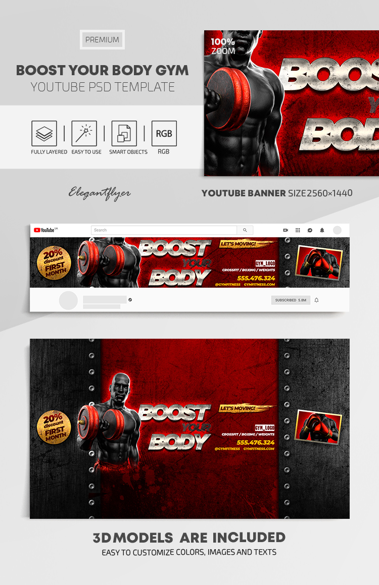 Boost Your Body GYM – Youtube Channel banner PSD Template