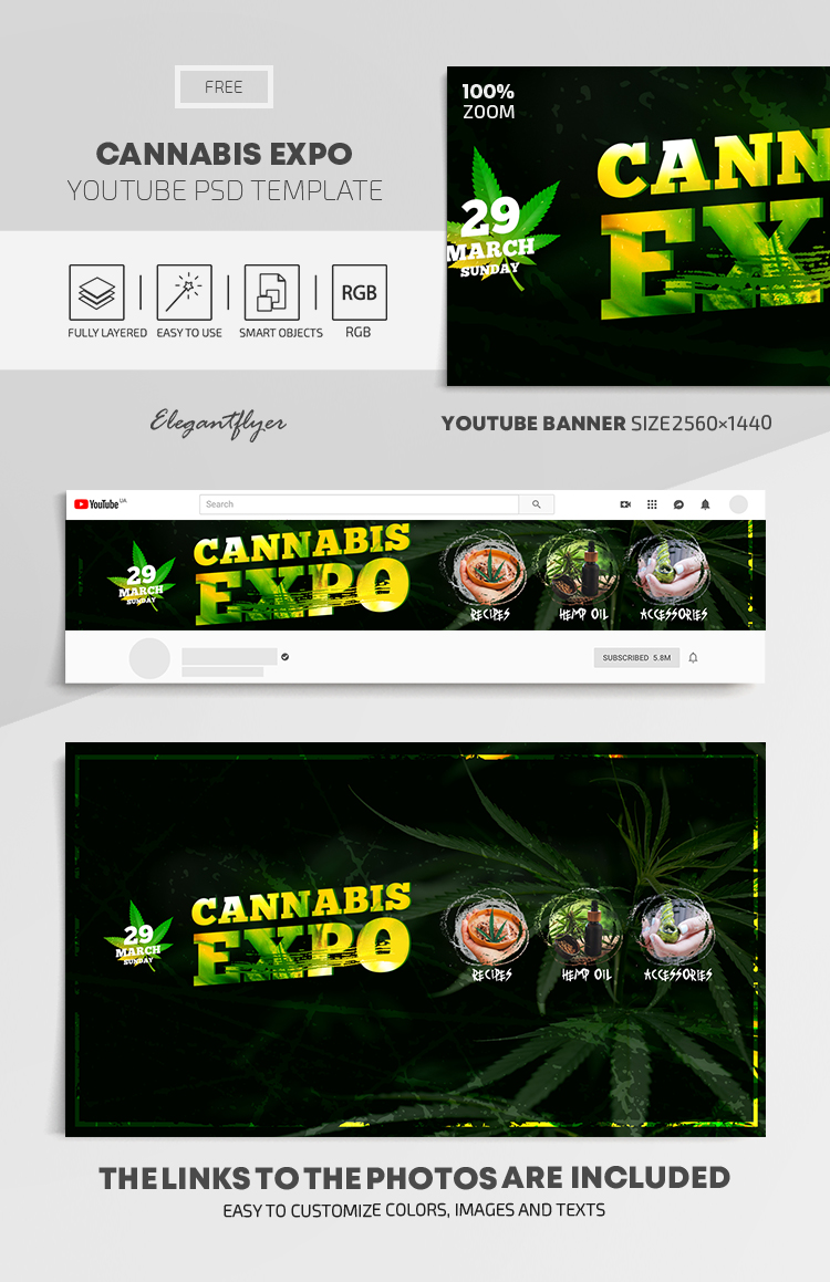 Cannabis Expo – Free Youtube Channel banner PSD Template
