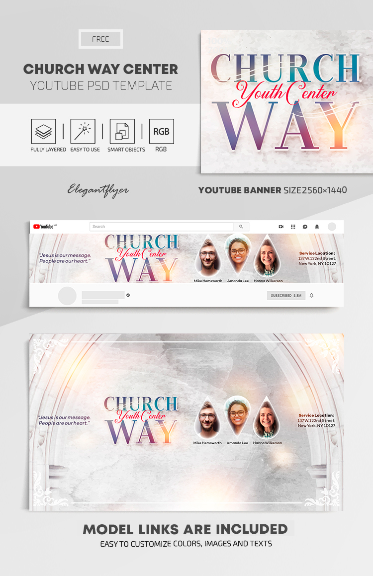 Church Way Center – Free Youtube Channel banner PSD Template