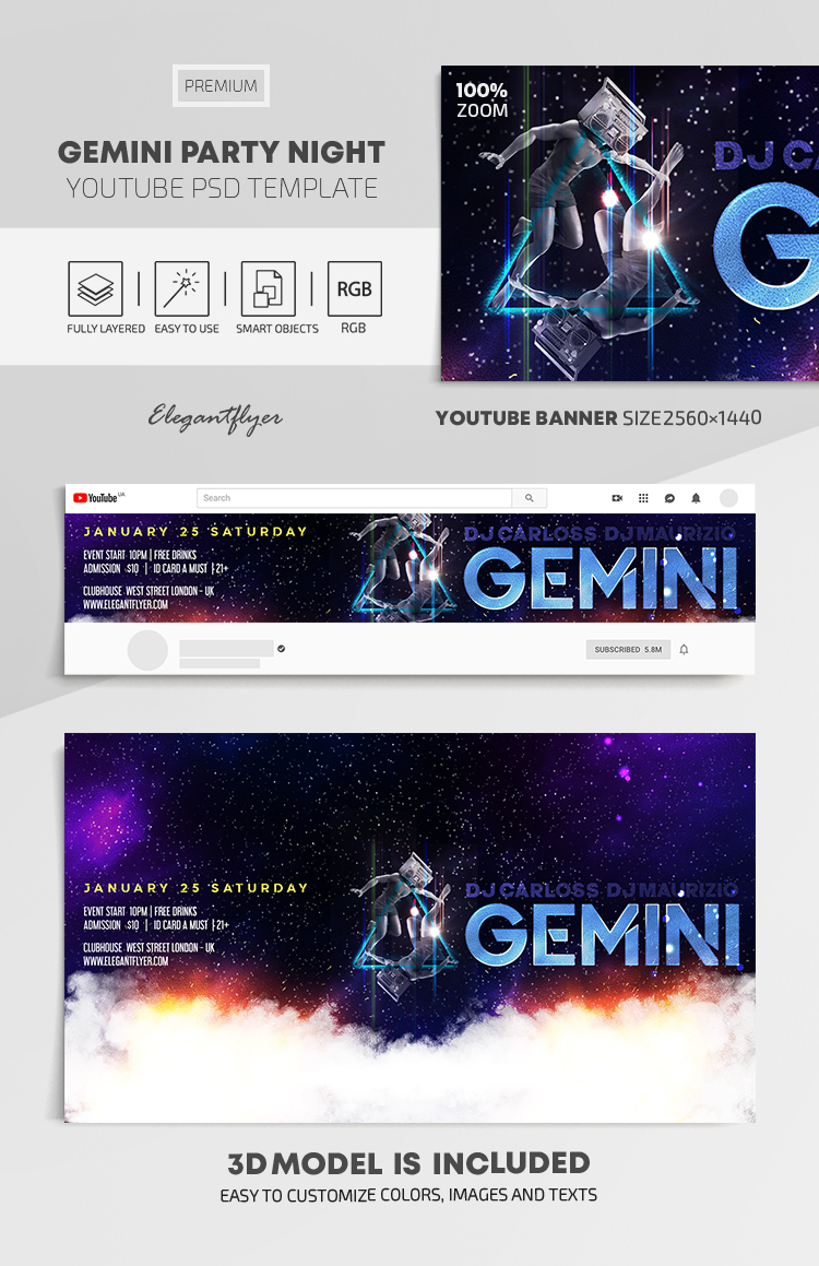 Gemini Boombox – Youtube Channel banner PSD Template
