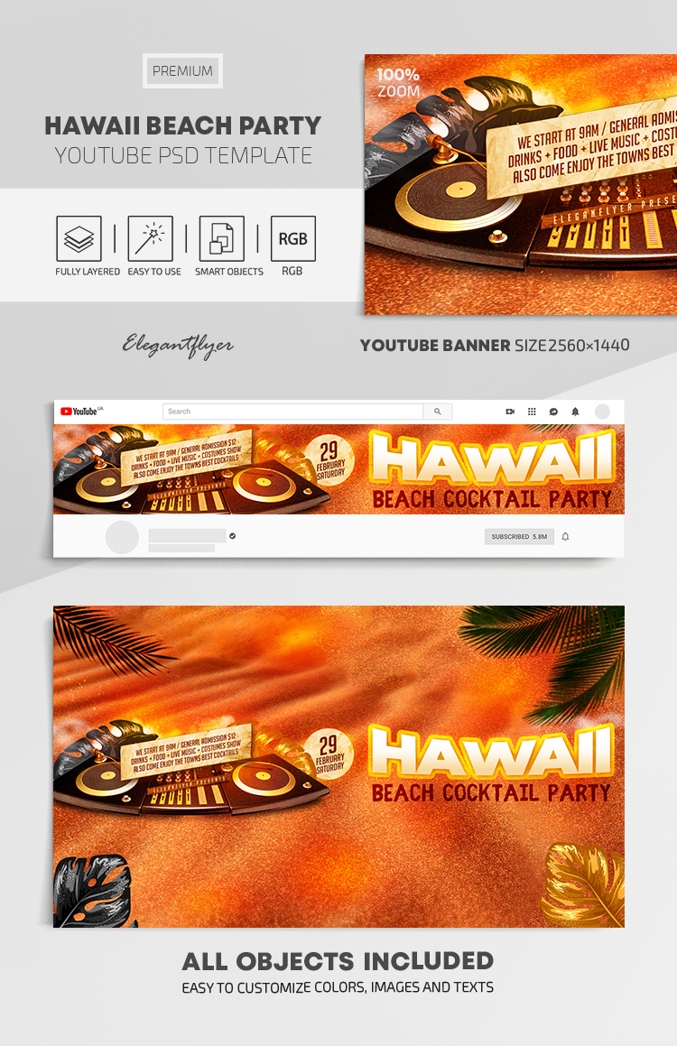 Hawaii Beach Party – Youtube Channel banner PSD Template