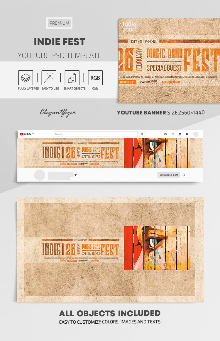 Indie Fest – Youtube Channel banner PSD Template